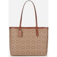 Coach Women's Coated Canvas Signature Central Tote With Zip - Tan Rust