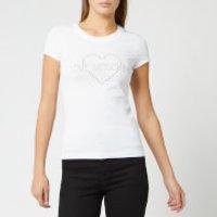 Love Moschino Women's Diamonte Logo T-Shirt - Optical White - IT 42/UK 10 - White