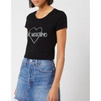 Love Moschino Women's Diamonte Logo T-Shirt - Black - IT 42/UK 10 - Black