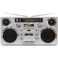 GPO Brooklyn Portable 1980s Retro Style Music System Boombox with CD, Cassette, DAB Radio & Bluetooth - Silver - Music Gifts