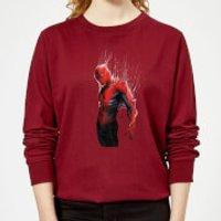 Marvel Spider-man Web Wrap Womens Sweatshirt - Burgundy - M - Burgundy