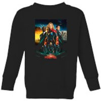 Captain Marvel Movie Starforce Poster Kids' Sweatshirt - Black - 9-10 Years - Black