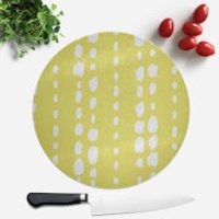 Lime Green Dot Lines Round Chopping Board - Lime Green Gifts