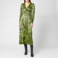 Ganni Women's Silk Stretch Satin Dress - Lime Tiger - EU 34/UK 6