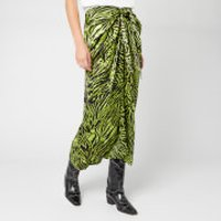 Ganni Women's Silk Stretch Satin Skirt - Lime Tiger - EU 36/UK 8