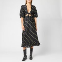 Ganni Women's Silk Linen Dress - Black - EU 40/UK 12