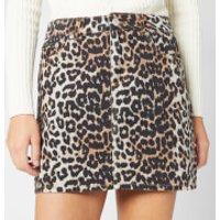 Ganni Women's Print Denim Skirt - Leopard - EU 36/UK 8