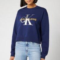 Calvin Klein Jeans Womens Monogram Boyfriend Crop Top - Medieval Blue - M