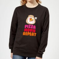 Hamsta Pizza Movie Repeat Logo Light Women's Sweatshirt - Black - XXL - Black
