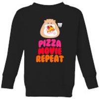 Hamsta Pizza Movie Repeat Logo Light Kids' Sweatshirt - Black - 11-12 Years - Black - Food Gifts