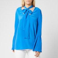 MICHAEL MICHAEL KORS Womens Bell Sleeve Silk Top - Grecian Blue - L - Blue