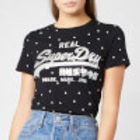 Superdry Women's V Logo Polka Dot Aop Entry T-Shirt - Black Slub - UK 8 - Black