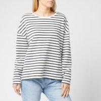 Superdry Women's Ashby Stripe Long Sleeve Top - Charcoal Marl/Chlak Stripe - UK 10 - Black