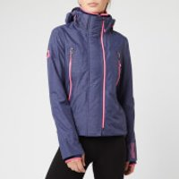 Superdry Womens Tech Velocity SD-Windcheater Jacket - New Navy Marl/Fluro Pink - UK 10 - Blue