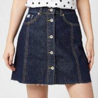 Superdry Womens Denim A Line Skirt - 70s Blue - W30 - Blue