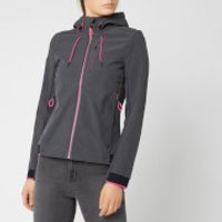 Superdry Womens Nu Hooded Sd-Windtrekker - Dark Charcoal/Fluro Cherry - UK 8 - Black