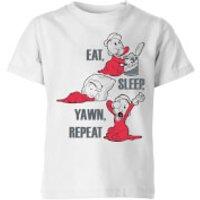 Popeye Eat Sleep Yawn Repeat Kids' T-Shirt - White - 7-8 Years - White
