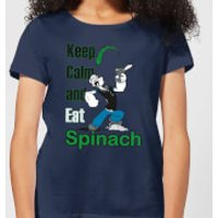 Popeye Keep Calm And Eat Spinach Women's T-Shirt - Navy - S - Navy