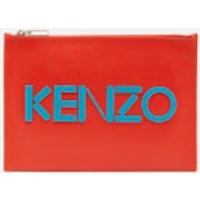 KENZO Women's Leather Kenzo Logo A4 Pouch - Red