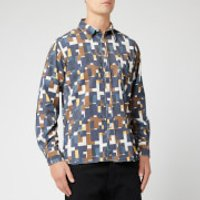 Universal Works Men's Cord Standard Shirt - Navy Square - L - Multi