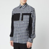 Lanvin Men's Patchwork Shirt - Grey/Blue - 41cm/16  - Grey/Blue