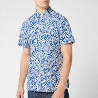 Tommy Hilfiger Men's Slim Large Leaf Print Shirt - Blue Quartz/Snow White - M - Blue