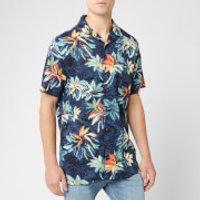 Tommy Hilfiger Men's Hawaiian Print Shirt - Vintage Indigo/Jet Black/Multi - XL - Black