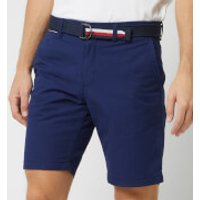 Tommy Hilfiger Men's Brooklyn Light Twill Shorts with Belt - Medieval Blue - W34 - Blue