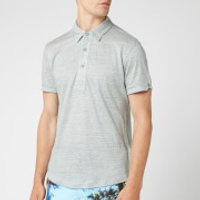 Orlebar Brown Men's Sebastian Linen Stripe Polo Shirt - Pewter/Cloud - S - Grey