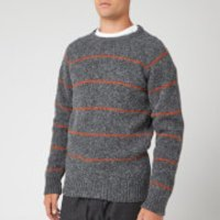 YMC Men's Everyman Striped Crew Jumper - Charcoal/Rust - S - Grey