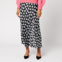 RIXO Women's Kelly 1930s Micro Floral Midi Skirt - Black - S