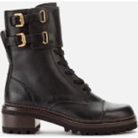 See By Chloe Women's Leather Lace Up Military Boots - Nero - UK 8