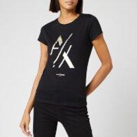 Armani Exchange Women's Foil Logo T-Shirt - Black - XS - Black