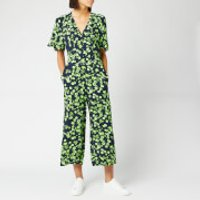 Whistles Womens Digital Daisy Print Button Jumpsuit - Navy/Multi - UK 8 - Multi