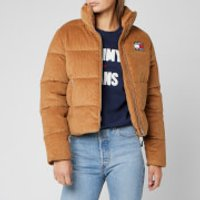 Tommy Jeans Womens Cord Puffa Jacket - Tobacco Brown - M - Brown