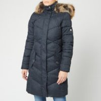Barbour Womens Sternway Quilt Coat - Navy Marl/Navy - UK 12 - Blue