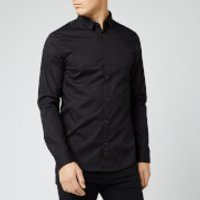 Armani Exchange Men's Small Logo Long Sleeve Shirt - Black - S - Black