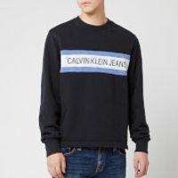 Calvin Klein Jeans Men's Front Stripe Sweatshirt - CK Black/White - XXL - Black