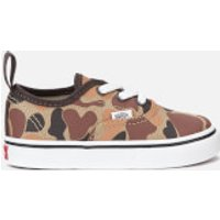 Vans Toddlers' Authentic Elastic Lace Camo Trainers - Chocolate Torte/True White - UK 5 Toddler