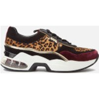Karl Lagerfeld Women's Ventura Leopard Mix Runner Style Trainers - Wine Mix - UK 6