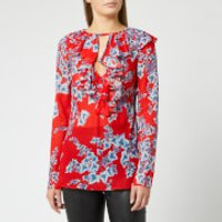 Philosophy di Lorenzo Serafini Women's Leaf Print Frill Detail Blouse - Red - IT 40/UK 8 - Red