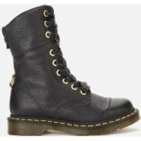Dr. Martens Women's Aimilita Leather/Tartan Toe Cap 9-Eye Boots - Black/Stewart - UK 4 - Black