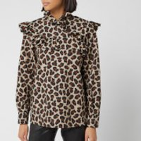 MSGM Women's Leopard Frill Detail Blouse - Beige - IT 44/UK 12 - Beige