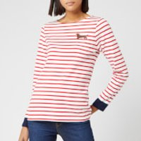 Joules Women's Harbour Embroidered Yuledog Top - Red Stripe - UK 6