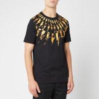 Neil Barrett Men's Flame Fairisle Thunderbolt T-Shirt - Black/Orange - S