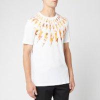 Neil Barrett Men's Flame Fairisle Thunderbolt T-Shirt - White/Orange - M