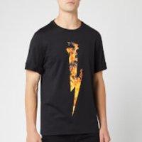 Neil Barrett Men's Flame Thunderbolt T-Shirt - Black/Orange - L