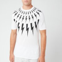 Neil Barrett Men's Fairisle Thunderbolt T-Shirt - White/Black - M - White