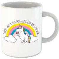 Happier Than A Unicorn Eating Cake Mug - Eating Gifts