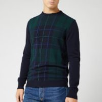 Barbour Heritage Men's Coldwater Crew Knit - Black Watch Tartan - L - Green